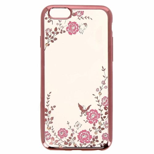 Силиконовая прозрачная накладка с розовой окантовкой (цветы)