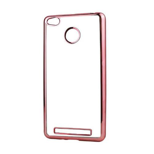 Силиконовая прозрачная накладка с розовой окантовкой